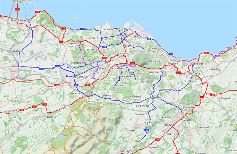 ścieżki rowerowe w Edynburgu mapa