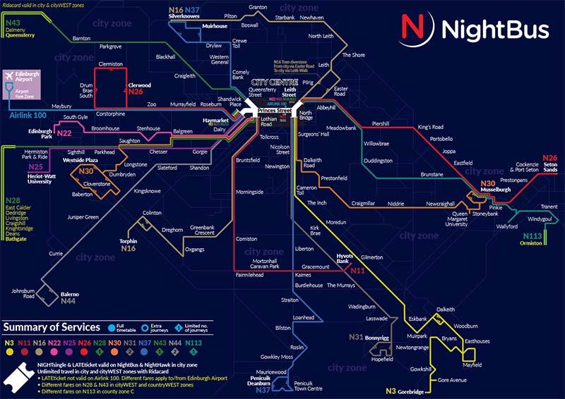 autobusy nocne w Edynburgu